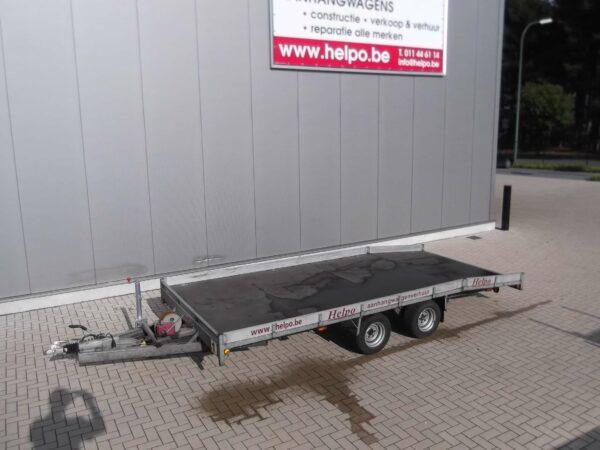Verhuur nr 1, autotransporter geremd, dubbelas, htg 3500kg, 5000mm x 2200mm, met oprijplaten dagprijs € 55,00