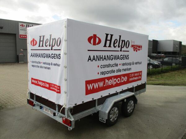 Verhuur nr 5, zeil- / verhuisaanhangwagen, geremd, dubbelas, htg 2700kg, 3450mm x 1600mm, hoog 1750 mm dagprijs € 50,00