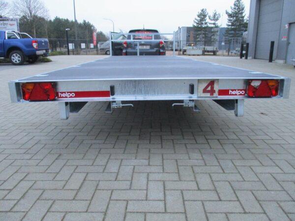 Verhuur nr 4, platte aanhangwagen, geremd, dubbelas, htg 3500kg, 6380mm x 2100mm, met oprijplaten dagprijs € 60,00