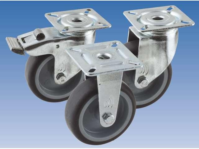 68 Apparatenzwenkwiel, diameter 50x20mm, geremd, plaatbevestiging