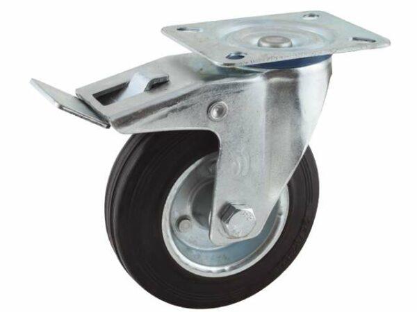 02 Zwenkwiel, diameter 100x30mm, geremd, plaatbevestiging