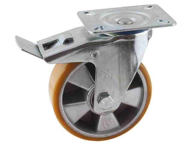 29 Zwenkwiel, diameter 125x40mm, geremd, plaatbevestiging