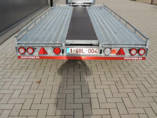 Verhuur nr 3, autotransporter kantelbaar geremd, dubbelas, htg 3500kg, 5000mm x 2100mm, met oprijplaten dagprijs € 60,00