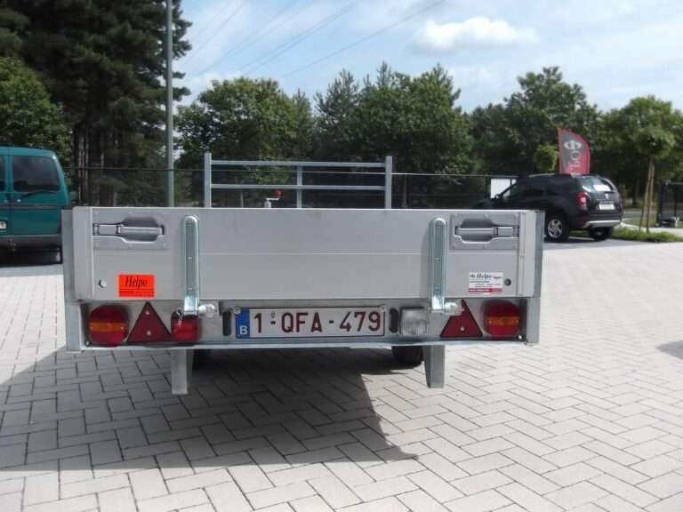 Verhuur nr 8, plateau aanhangwagen geremd, enkelas, htg 1300kg, 3100mm x 1600mm, met alu schotten 300mm, Dagprijs 30,00