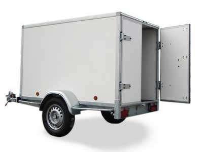 Gesloten aanhangwagen, enkel as, L=2520mm, B=1250mm x H=1500mm, enkel as, ongeremd, panelen van Fins berkhout, kleur wit. Deur 15mm dik, prijs € 1584,00 ex btw