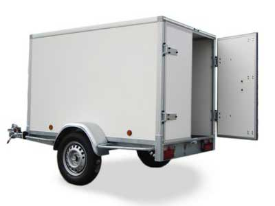 Gesloten aanhangwagen, enkel as, L=2520mm, B=1500mm x H=1500mm, enkel as, ongeremd, panelen van Fins berkhout, kleur wit. Deur 15mm dik, prijs € 1704,00 ex btw