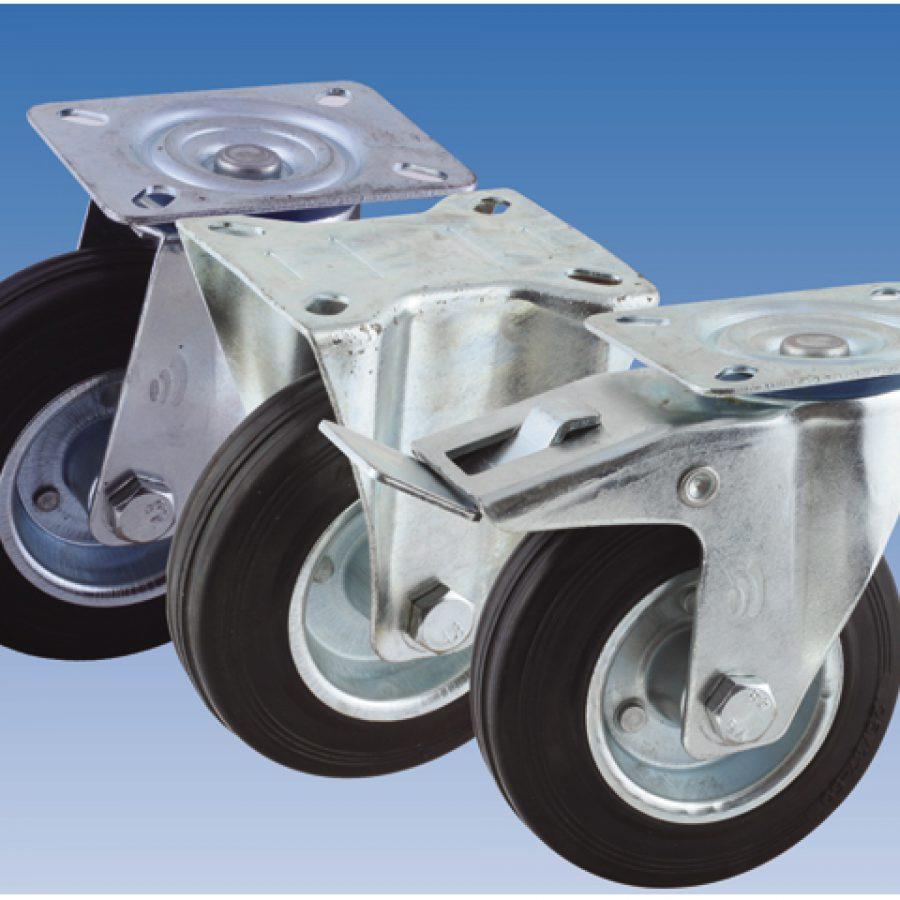 02 Zwenkwiel, diameter 100x30mm, ongeremd, plaatbevestiging
